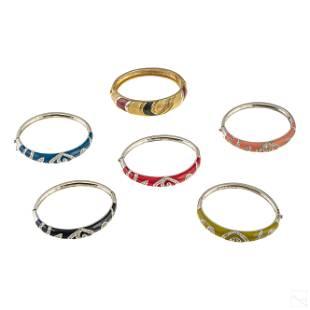 Sterling Silver and Crystal Enamel Bracelets Group