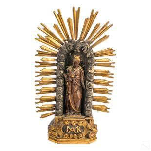 Madonna and Child Antique Religious Icon Sculpture