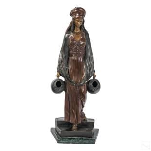 Dominique Alonzo Art Nouveau Bronze Girl Sculpture