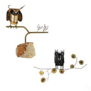Mid Century Modern Brazed Brass Owl Sculptures LOT