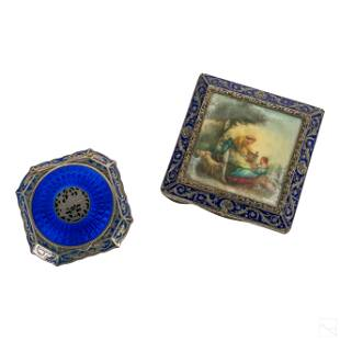 Sterling Silver Guilloche Enamel Cosmetic Compacts