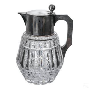 German 19C. Sterling Silver Crystal Carafe Pitcher