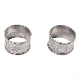 Sterling Silver Engraved Antique Napkin Rings 82g.