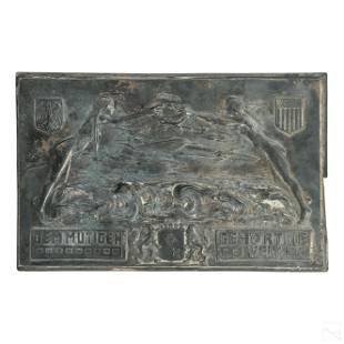 German Silver Plate Antique Bremen Aviation Plaque