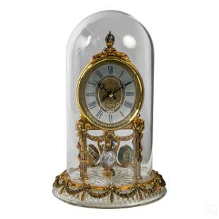 24K Gold Faberge Egg Crystal Clock for All Seasons