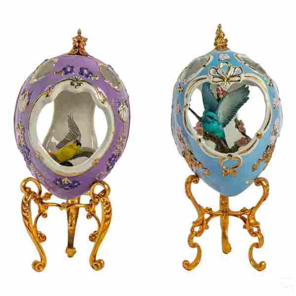24K Gold Faberge Bluebird Goldfinch Porcelain Eggs
