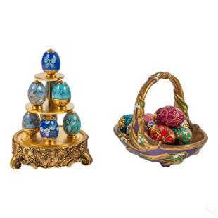 22K Gold Faberge Sapphire Garden & Spring Baskets