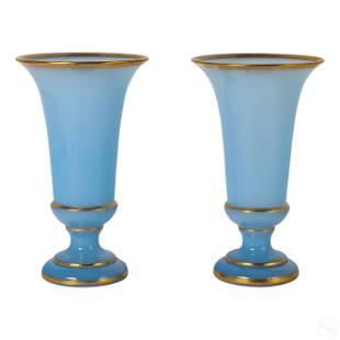 French Blue Opaline Floral Studio Art Glass Vases