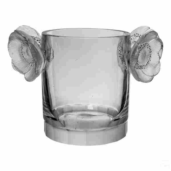 Lalique French Crystal Anemone Champagne Bucket