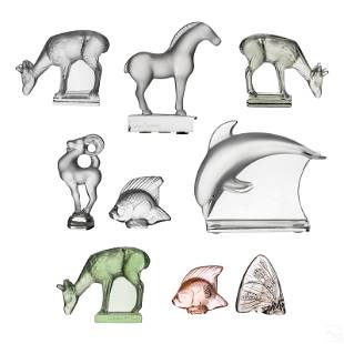 Lalique French Glass Crystal Wildlife Figurines