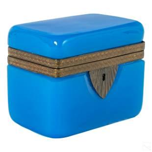 French Blue Opaline Art Glass Vanity Dresser Box
