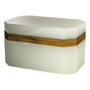 French White Opaline Art Glass Jewelry Casket Box