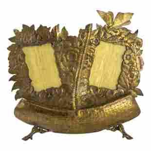 French Victorian Bronze Wedding Basket Photo Frame