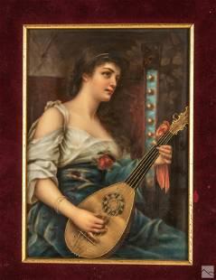KPM Style German Porcelain Maiden Portrait Plaque