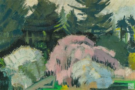 Hildegard Rath 1909-1994 Floral Landscape Painting