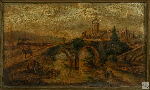 French Figural Architectural Landscape Painting