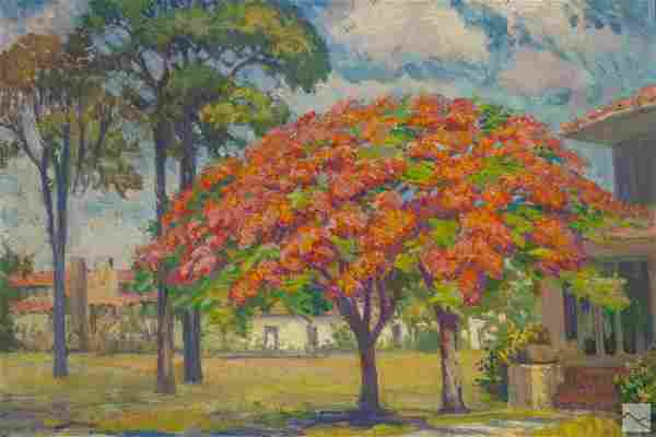 Indian River School Florida Landscape Oil Painting