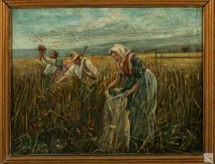 French (19th C.) Antique Landscape Genre Painting