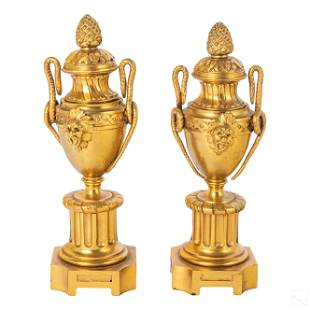 French Louis XVI Reversible Bronze Candle Holders