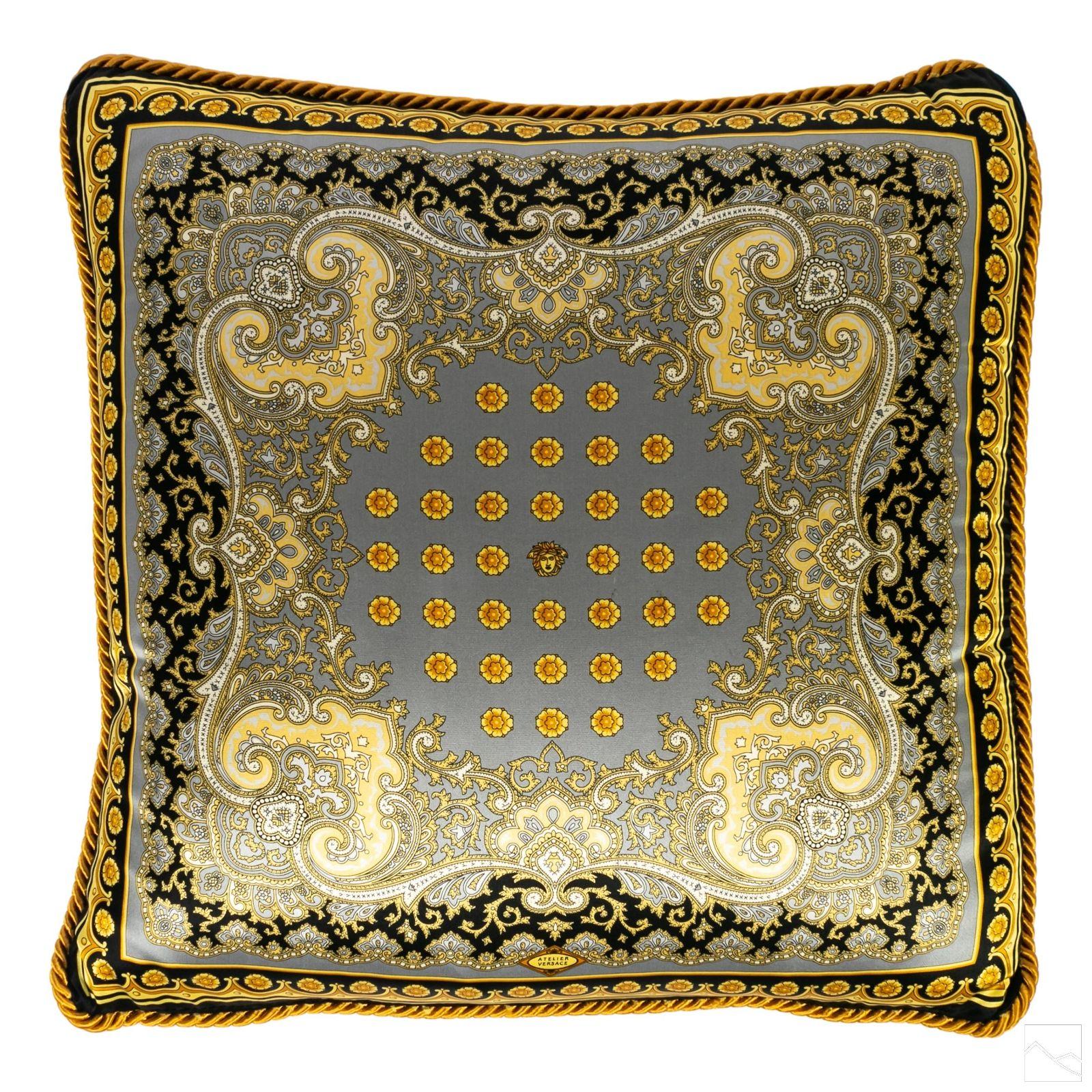 Versace Italian Silk Gilt Designer Baroque Pillow