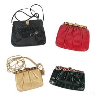 Judith Leiber Snake Skin Leather Hand Bag Purses