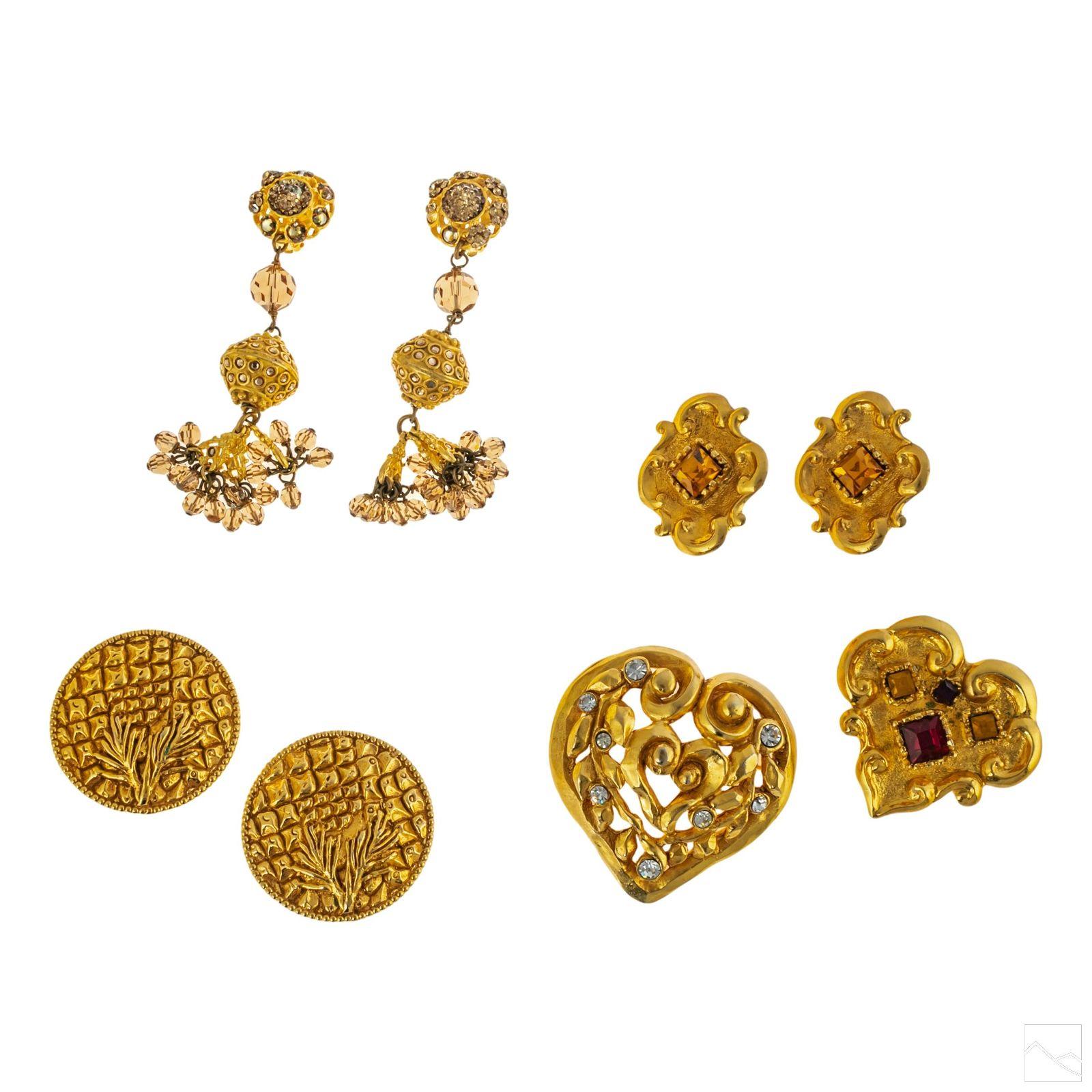 Designer Vintage Clip On Earring & Brooch Pins LOT