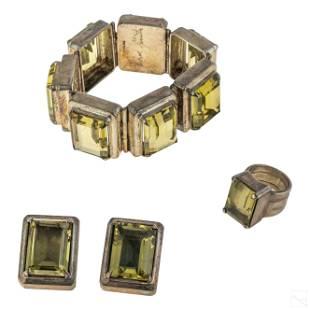 Mark Spirito Sterling Bracelet Ring & Earrings SET
