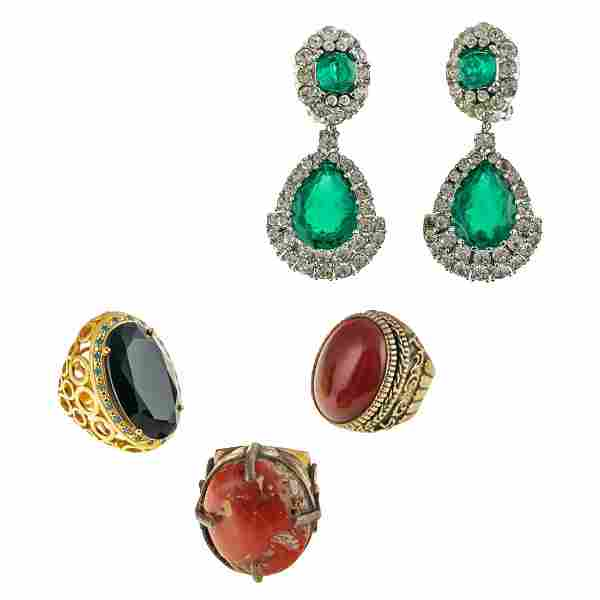 Designer Silver Gemstone Rings and Earrings Group