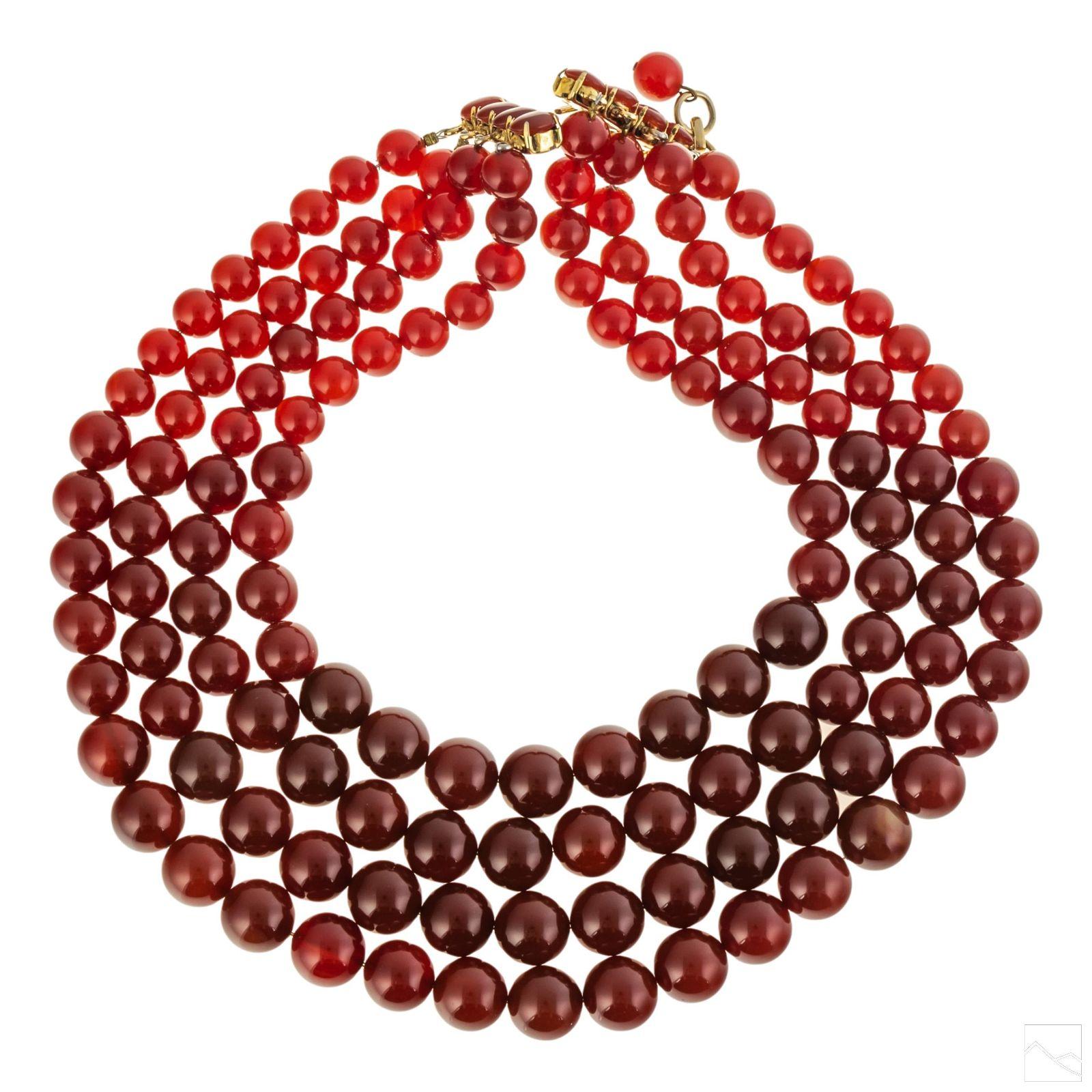 "Iradj Moini Designer Carnelian Beaded Necklace 19"""
