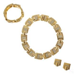 Christian Dior Gold Necklace Bracelet Earring Set