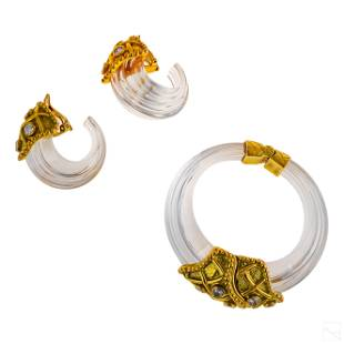 Inna Cytrine Designer Gold Bracelet & Earrings Set