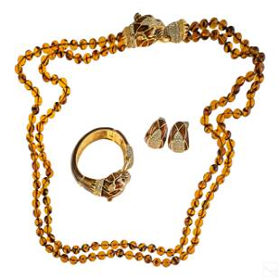 Ciner Enamel Gold Tone Crystal Panther Jewelry SET