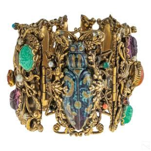 Victorian Revival Gold Filigree Gemstone Bracelet
