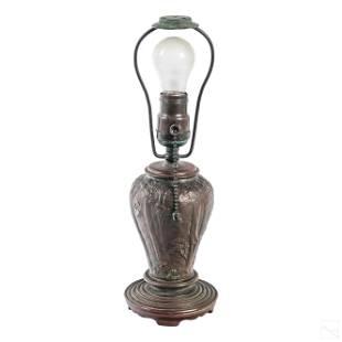 """Handel Co. Bronze Signed 13"""" Landscape Table Lamp"""