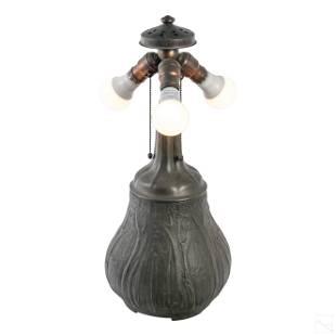 """Handel Co. Bronze Signed 21"""" Landscape Table Lamp"""