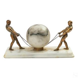 Art Deco Figural Bronze and Glass Ball Table Lamp