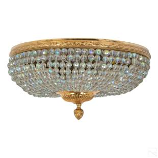 French Empire Ornate Crystal Lamp Ceiling Mount