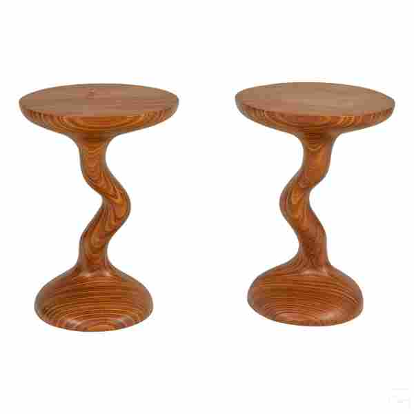Pair Modern Twist Design Circular Wood End Tables