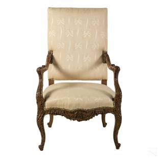 French Ornate Carved Wood Antique Regency Armchair
