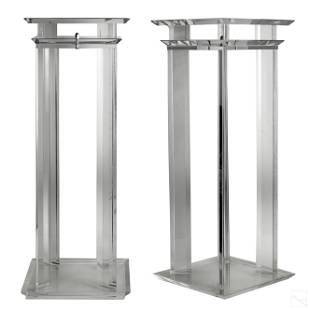 Pair Mid Century Acrylic Lucite Pedestal Stands