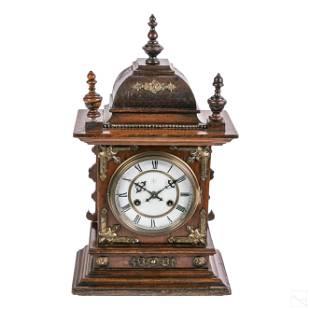 Junghans (19thC.) German Walnut Mantel Table Clock