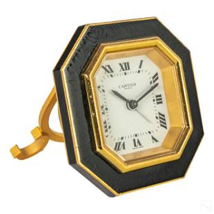 Cartier Paris Swiss Gilt Enamel Travel Alarm Clock