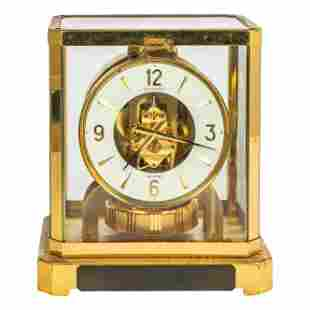 Jaeger LeCoultre Brass & Glass Atmos Mantel Clock