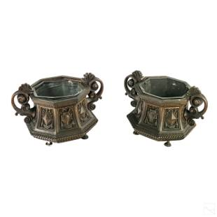 French Bronze Hexagonal Handled & Footed Planters