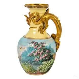 Dragon & Landscape Porcelain Antique Ewer Pitcher
