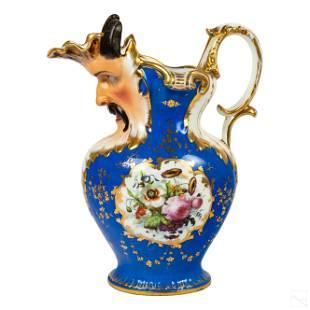 Old Paris Porcelain Satyr Figural Antique Pitcher