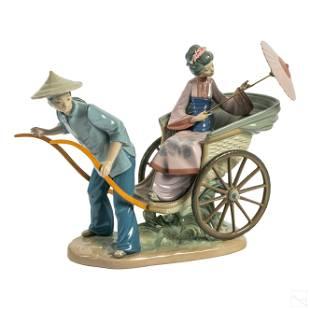 Lladro Rickshaw Ride Porcelain Figurine Sculpture