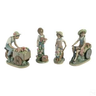 Lladro Spanish Porcelain Floral Figurines Group