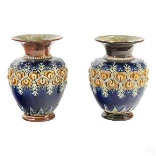 Royal Doulton Art Nouveau Cobalt Blue Floral Vases