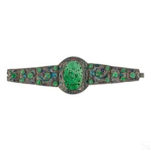 Chinese Silver Apple Green Jade & Enamel Bracelet